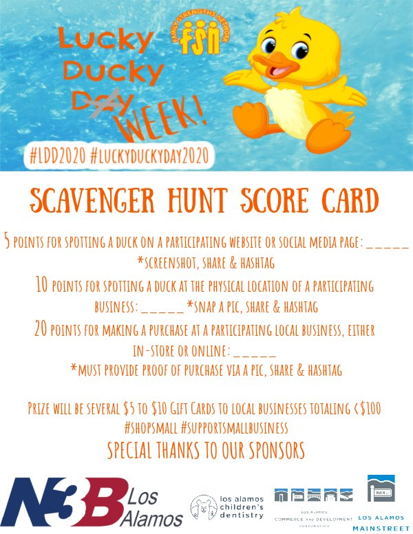 Lucky Ducky Week Score Card